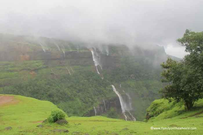 Matheran waterfall cloudy weather | best places to travel in Asia in July and August