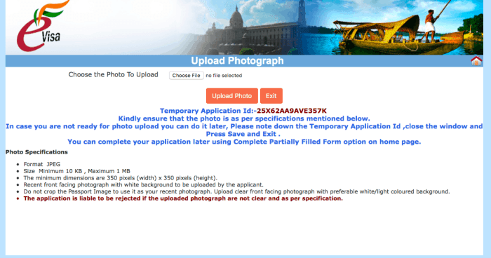 Indian visa online application photo upload screen | How To Apply For an Indian Tourist Visa