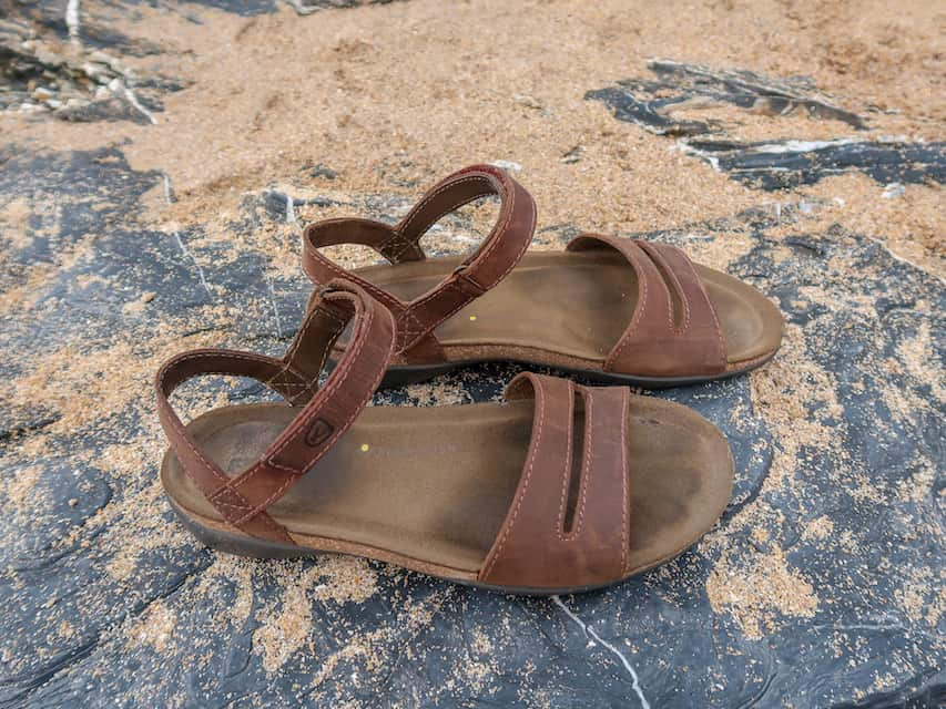 female packing list India, Keen Brown Sandals on rock with sand