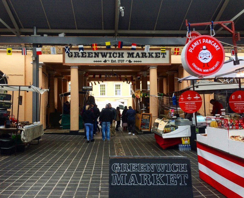 London in Winter, Greenwich market stalls