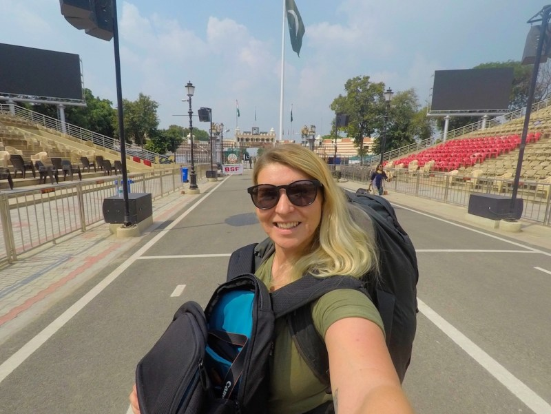 Ellie Quinn Crossing Wagah Border India Pakistan on foot