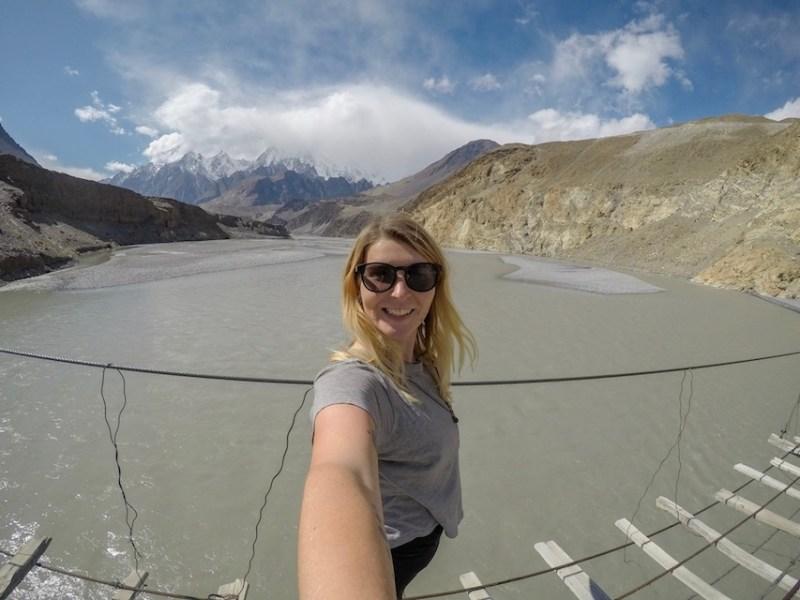ellie quinn on passu bridge in Hunza Pakistan | Pakistan travel tips