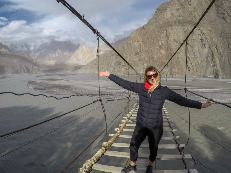 ellie quinn on husseini suspension bridge | Pakistan travel tips