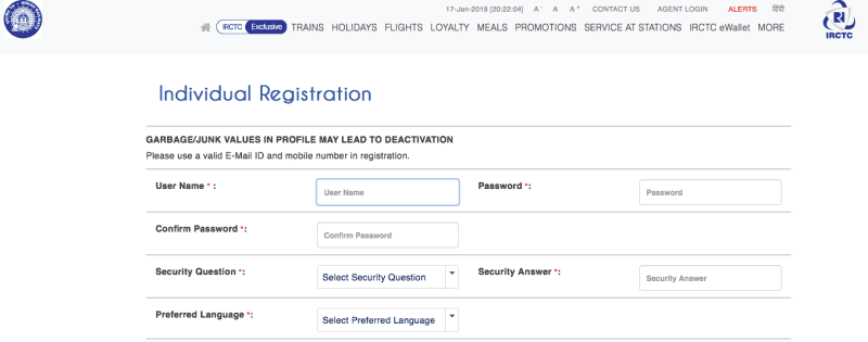 IRCTC Registration page