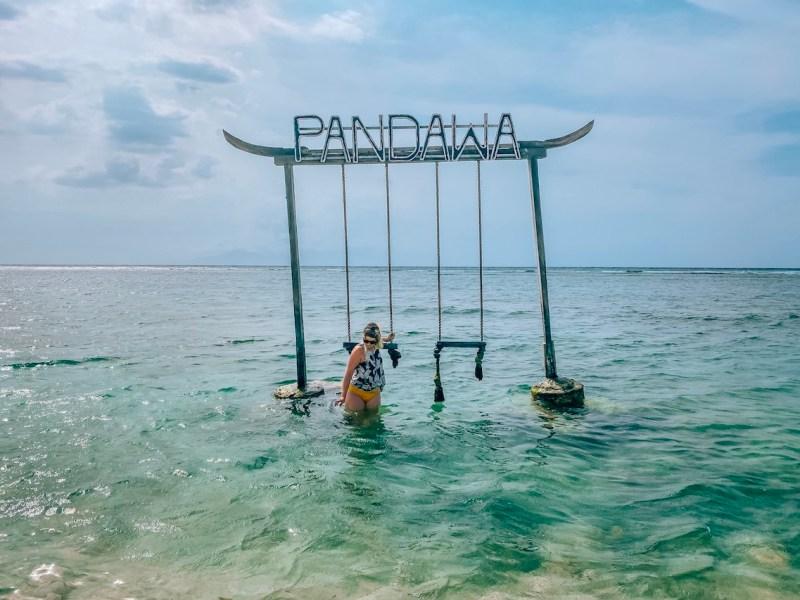 ellie quinn on Pandawa swing Gili T | lombok itinerary