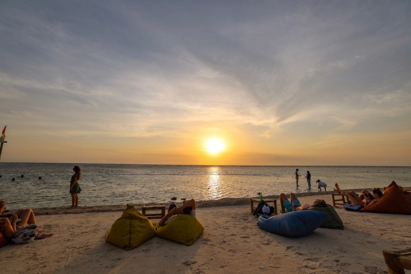 Sunset and Beanbags on Sunset Beach Gili T   things to do in Gili T