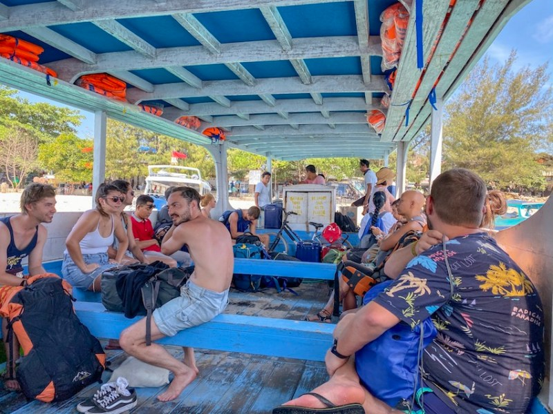 Inside the Slow Boat from Gili Trawangan | Gili Islands Travel Guide