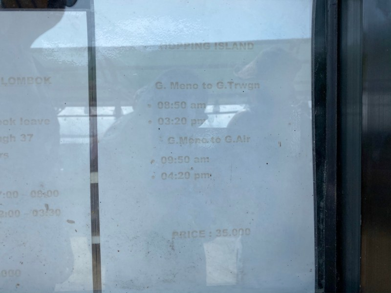Gili Meno to Gili T and Gili Air boat schedule