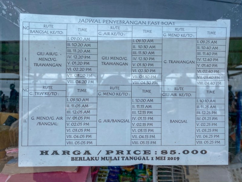 Gili islands fast boat schedule from Gili T