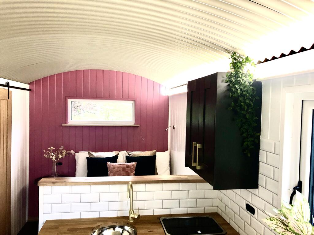 Mid Wales Luxury Glamping hut inside, glamping pod with hot tub wales