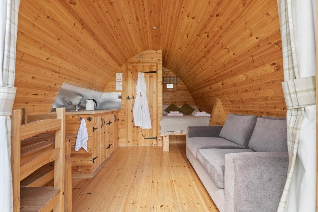 Pods at Broadway inside, glamping pod with hot tub wales