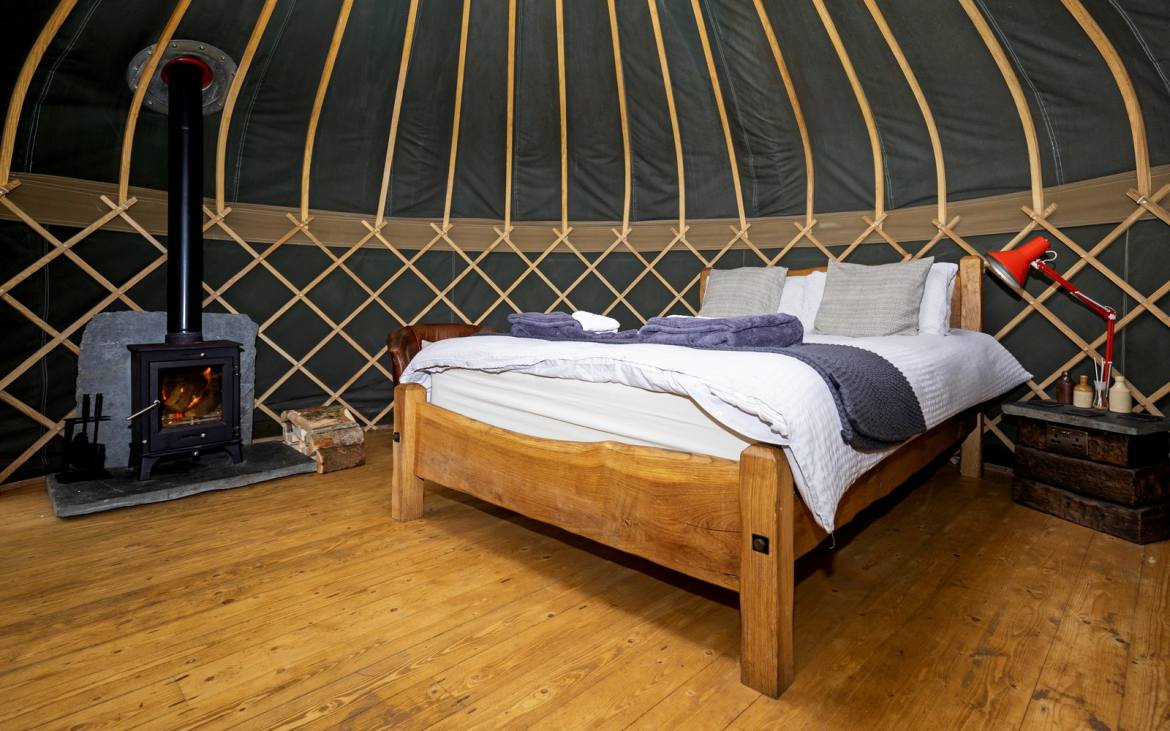 Glamping in Wales with hot tub, The Yurt Hideaway inside