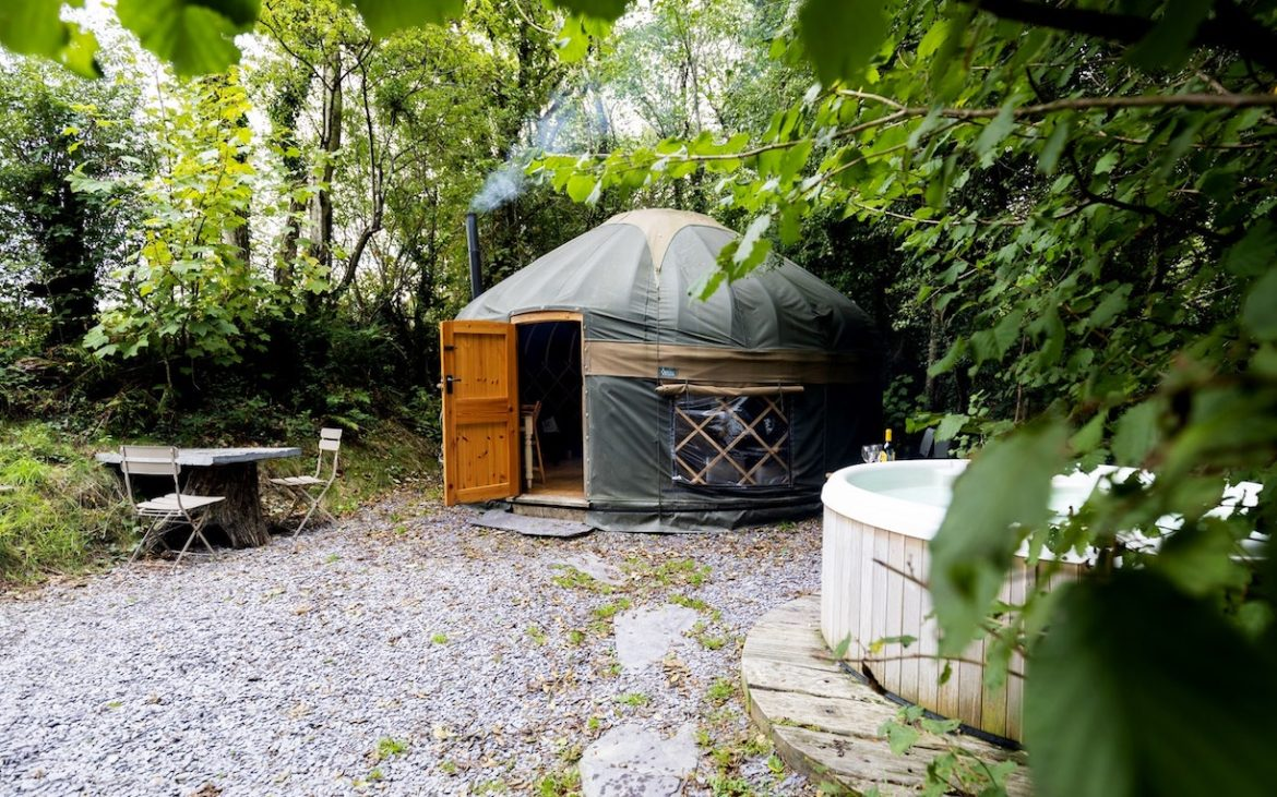 Glamping in Wales with hot tub, The Yurt Hideaway outside