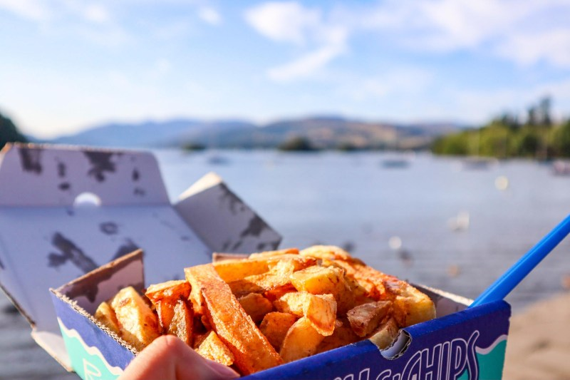 Lake District Day Trip, Chips on Lake Windermere