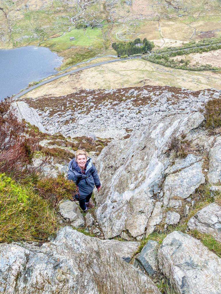 Ellie Quinn climbing Tryfan