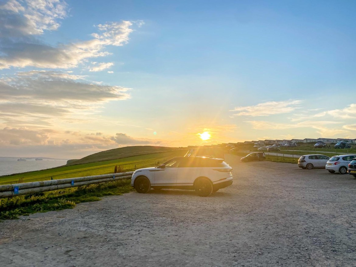 London to Durdle Door, Durdle Door Holiday Park Car Park at Sunset