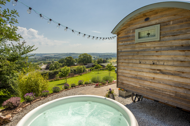 glamping in Devon, shepherds hut with hot tub South Devon