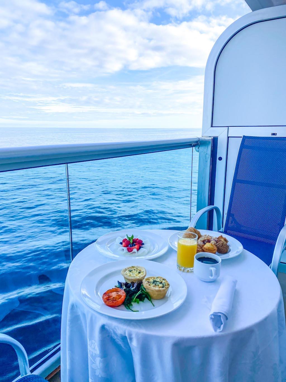 Princess Cruises from Southampton, stateroom balcony breakfast