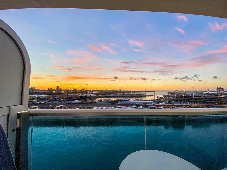 Princess Cruises from Southampton, ship at Southampton terminal sunrise