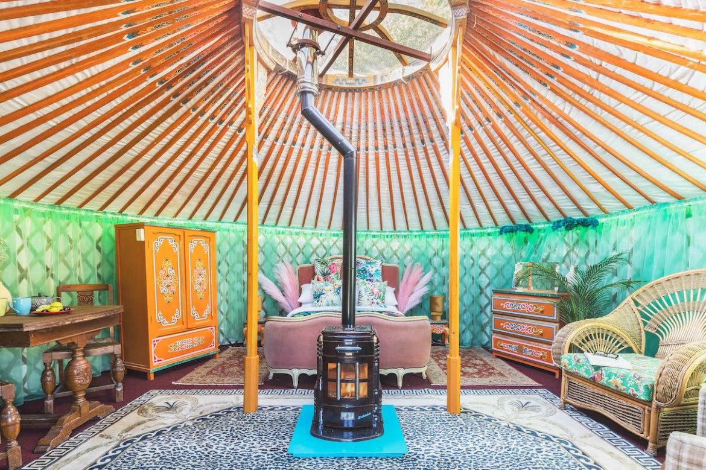 glamping in Devon, Yurt in Devon inside