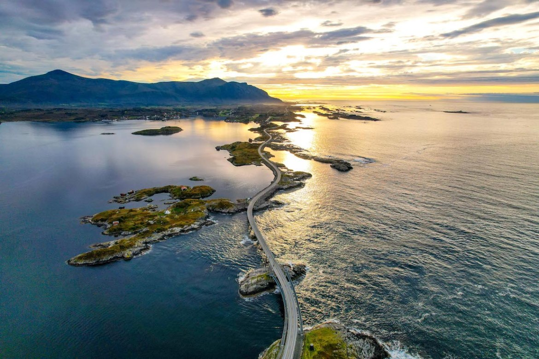 Norway road trip, Atlantic Ocean Road drone