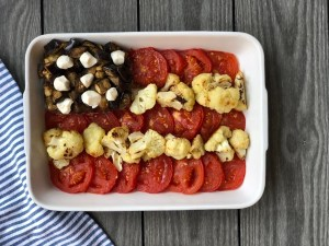 Red, White and Blue Flag with Roasted Vegetables and Mozzarella