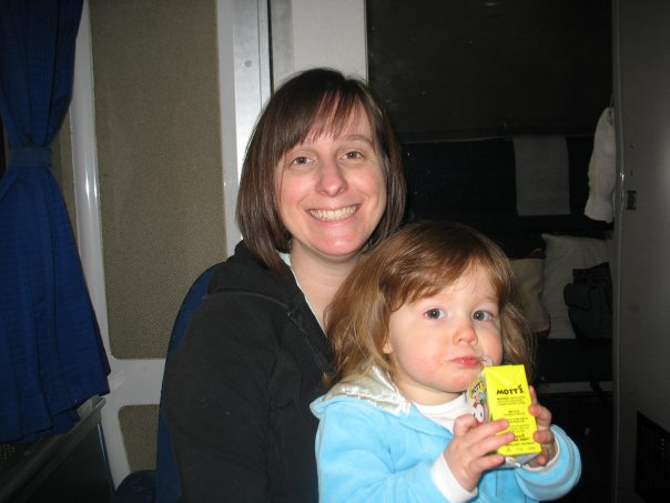 Catherine and Mom on train