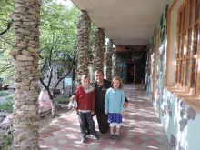 The kiddos with one of the owners of the guest house