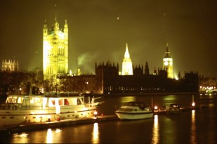 London, Houses of Parliament, and boats on the Thames