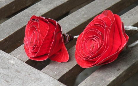 A button at each centre, recycled cardboard makes striking red roses