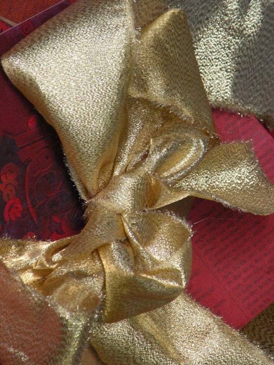 Ribbon of torn strips from offcuts of bright materials