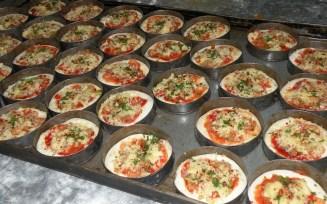 Mini Pizzas - into the oven