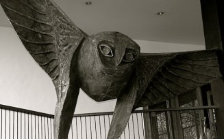 """An artist and sculptor, garden creator, musician, and architect, Laki Senanayake was a frequent artistic collaborator of Geoffrey Bawa. This dramatic owl dominates the central stairwell at Bawa's masterpiece Kandalama, near Dambulla. Their final collaboration resulted in the glorious extravaganzaa """"The Portuguese Arriving in Ceylon Under a Cloud"""", around the upper reaches of the spiral staircase of the Lighthouse Hotel, Galle."""