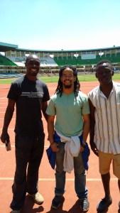 Paul, myself, and Horbson (athlete from team KenAfrica. We toured Kasarani stadium during my first week orientation