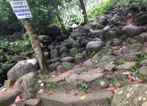 End of the stairway and start of the mountain trail