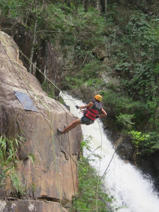 First rappelling station (Dalat Canyoning)