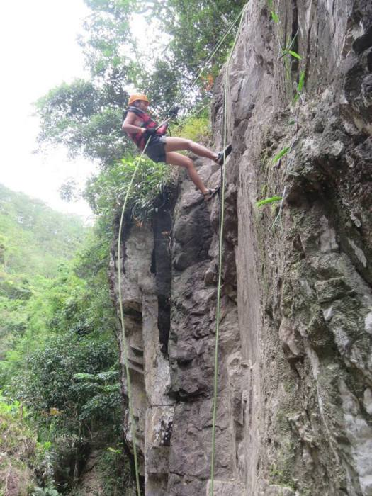 Second rappelling station (Dalat Canyoning)