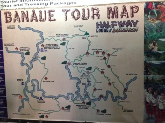 Banaue Tour Map - different trek routes you can do in banaue
