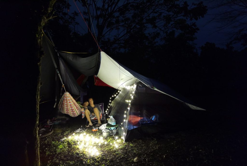 Our hammock and tent set up.