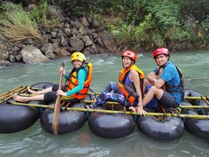 With my mother doing River Rafting in Real Quezon!