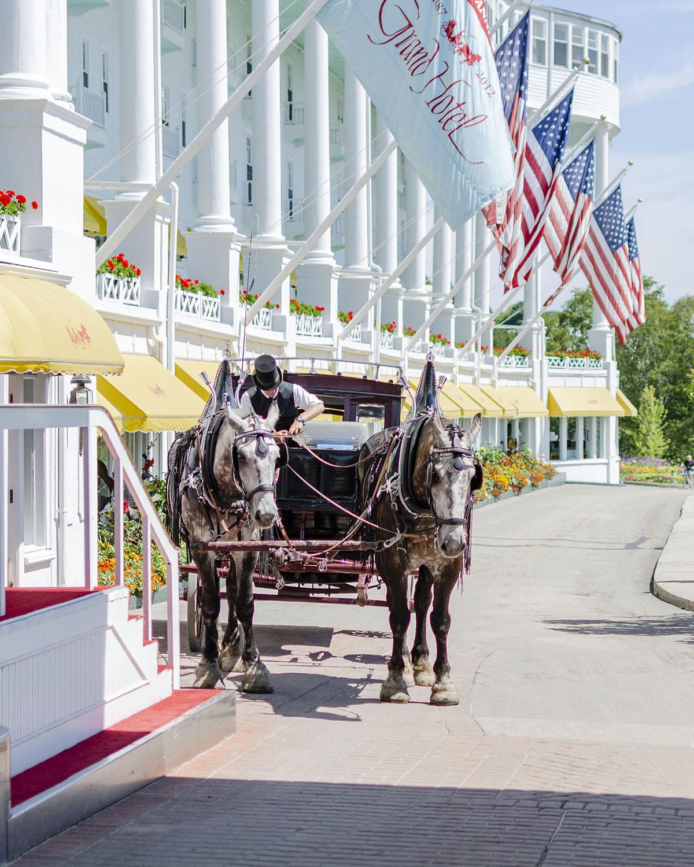 Grand Hotel Entrance Horse Drawn Carriage Mackinac Island