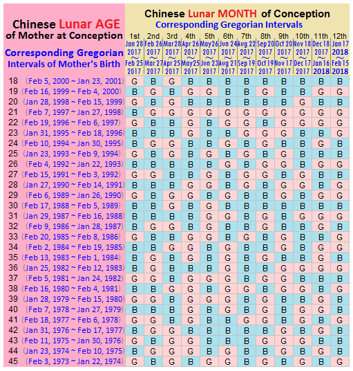 Check Out Chinese Gender Chart 2017 & 2018 - The Wanna be ...