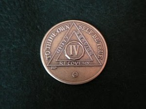 The four year chip that I would've gotten, if I went to AA meetings