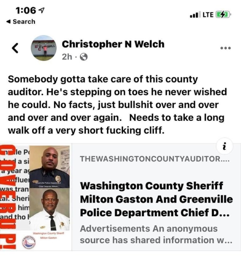 Another Day, Another Death Threat For The Washington County Auditor