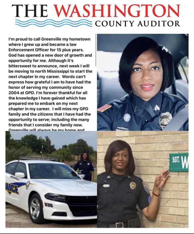 Back in early September one of the Delta's brightest jewels announced plans to resign from The Greenville Police Department to move to North Mississippi to further her career.