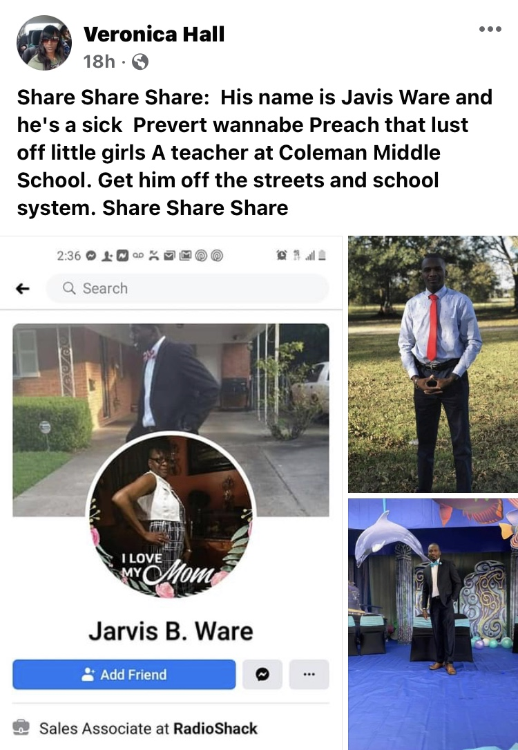 PEDOPHILE ALERT!Coleman Middle School Teacher Accused Of Inappropriate Actions Towards A Young Female Student At School On Facebook.