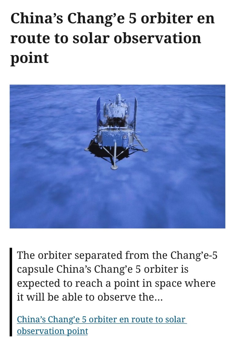 China's Chang'e 5 orbiter en route to solar observation point