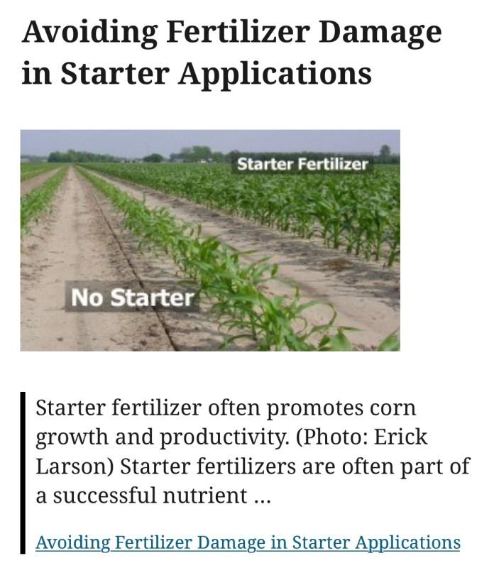 Avoiding Fertilizer Damage in Starter Applications