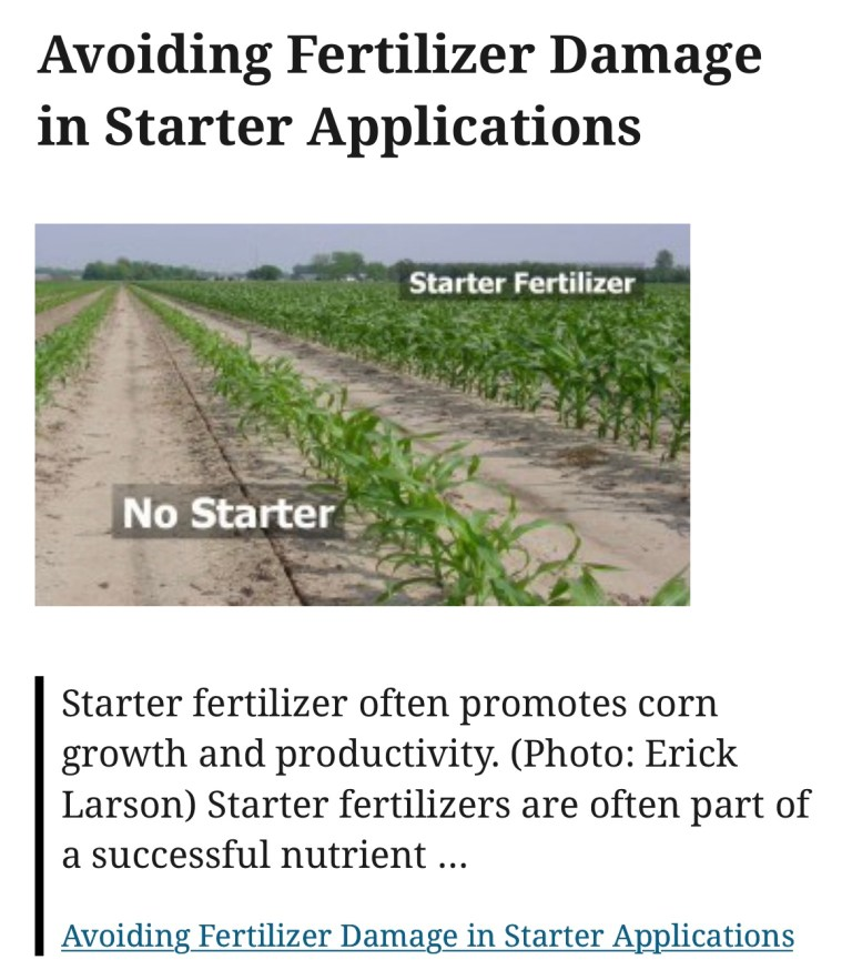 Avoiding Fertilizer Damage in Starter Applications