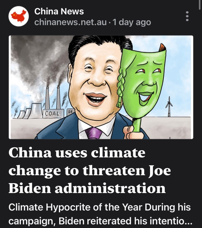China Uses Climate Change To Threaten President Joe Biden's Administration.